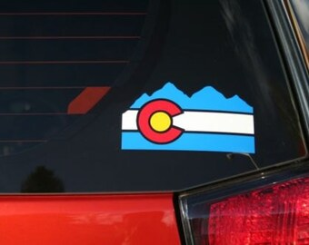 Colorado Flag Mountains die cut sticker