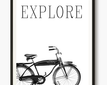 Bicycle Poster, Cycling Art, Bicycle Art, Modern Print, digital art, Bike Print, Inspirational quotes, Nordic Wall Art, Office Decor
