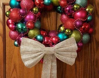 Multi Colored Lighted Ornament Wreath