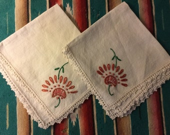 Two Vintage Embroidered Napkins with Crocheted Trim   PRICE REDUCED!