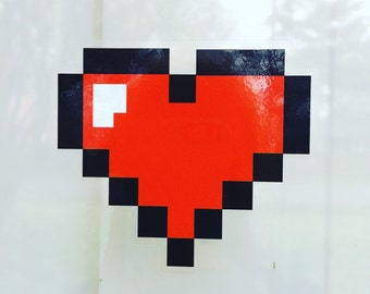 4x4 Pixel Heart Container Decal Sticker
