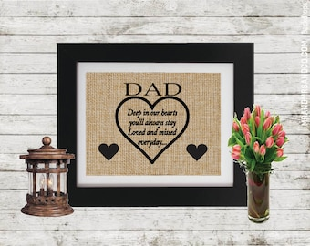 Personalized Father Memorial Gift -In Memory of Dad - Loss of a Father - Memorial gift - Burlap print - Loss of a Dad - Parent loss - Burlap