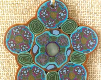 Blue Flower pendent necklace