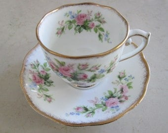 Roslyn Moss Rose Floral Tea Cup and Saucer