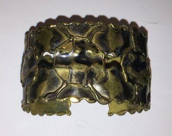 Handmade Mid-Century Modern Brass Brutalist Cuff Bracelet