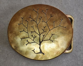 "Handmade belt buckle ""AUTUMN-2"" in brass"