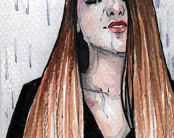 """ACEO """"PureRain"""", original, ink, watercolor"""