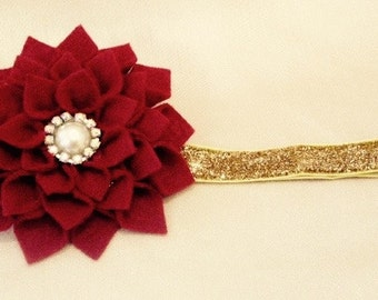 Baby Headband, Newborn headband, Girl Headband, Headband, Felt Flower, Baby Girl Headband