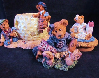 "Boyds Bears The Bearstone Collection "" Sebastian and Nicholas + Bailey +Joni ""  Resin Figurines"
