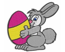 Bunny With Giant Egg Machine Embroidery Design