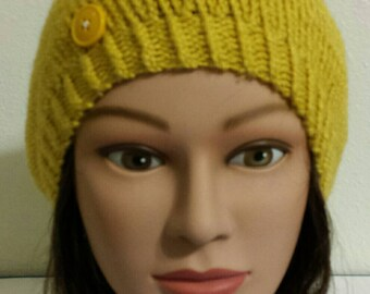 Woman's Hand Knit mustard beret