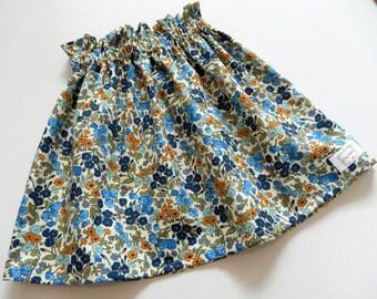 Size 2 girls skirt. Girls Paper bag Skirt, High waisted Skirt, Paperbag, Floral Skirt