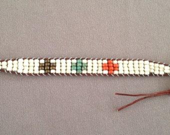 White beaded leather wrap bracelet