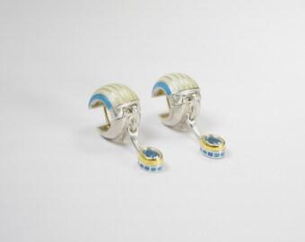 Topaz, enamel, silver and gold earrings - Valdis Brože