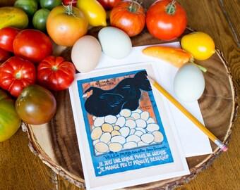 Greeting Card - French Vintage Hen Poster Reproduction - Frameable 5x7 Card - Je Suis Une Brave Poule de Guerre - I am a brave War Hen