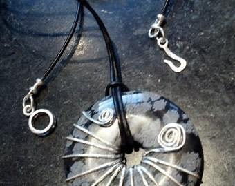 Smoke - Obsidian and sterling necklace