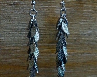 Gunmetal Leaf Chain Dangle Earrings