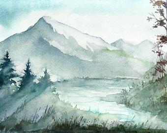 Mountains and river landscape. Original Watercolor Landscape Painting.