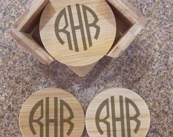 Personalized Coasters Engraved Coasters Set of 6 Bamboo Wood  with holder.  Your choice of engraving