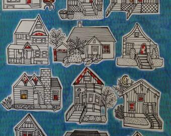 Original Blue Houses Drawing