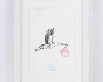 Stork Pink // Watercolour Print
