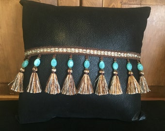 Black with Turquoise Pillow