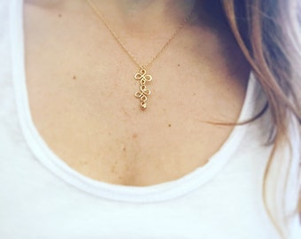 Gold Necklace, Gold Filled Necklace, Simple Gold Necklace, Flower Necklace, Tiny Necklace Gold