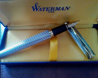 SOLD OUT Waterman L'Etalon Sterling Silver Fountain Pen 18K Gold Fine (F) Nib, Vintage Waterman L'Etalon Sterling Silver Fountain Pen,Pen