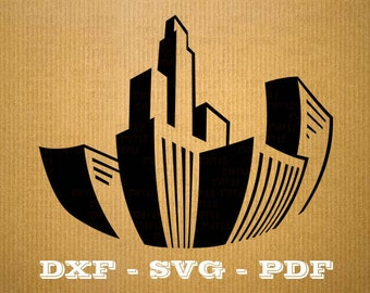 City SVG Building vector files for cricut, City cutting files, clipart building, DXF files City, silhouette city, svg city