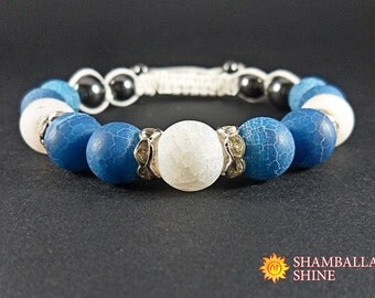 Blue gemstone jewelry White frosted beads Woven blue bracelet Blue white bracelet Frosted agate beads White cord bracelet