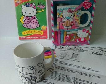 Hello Kitty color your own mug and DVD Hello Kitty Becomes a Princess