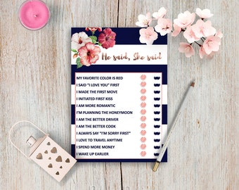 Editable Bride or Groom Game Printable Bridal Shower Games Pack Customizable He Said She Said Game Custom Bridal Shower Do It Yourself DIY