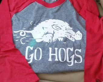 Baseball Tee, Arkansas Razorbacks, Hogs