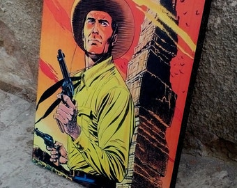Tex Willer by Claudio Villa, Italian comic, Fumetti, Art Print, Wall Decor, Comic decor, Handcrafted from recycled chipboard,  Western