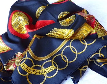 "HERMES Scarf, BLack, Gold tone, Red, Vintage 1975, Entitled ""Epaulettes"", Design Cathy Latham, Summer Sale, CIJ, Free Shipping"