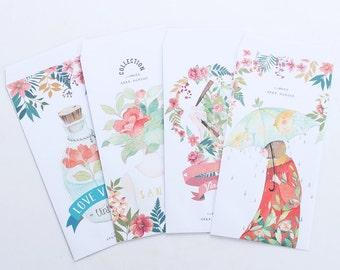 Hipster Floral Letter Set, Greeting Card Set - LT006