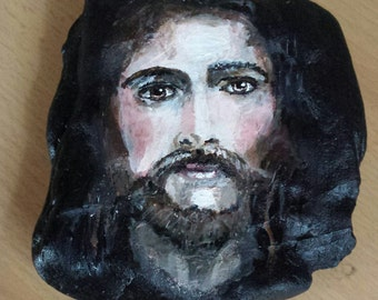 Jesus Christ on stone hand painted