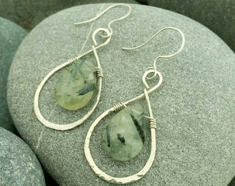 Prehnite and sterling silver earrings