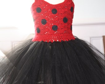 Handmade Crochet Top Ladybug Tutu Dress
