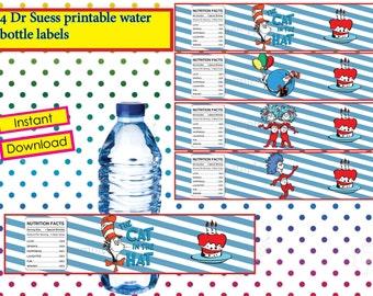 Dr Seuss water bottle  label, Dr Seuss  party, Dr Seuss birthday invitation - printable, water bottle, Instant Download