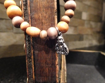 Buddha Charm Wood Bead Stackable Bracelet