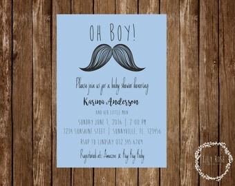Mustache Baby Shower Invitation