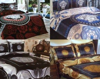 Versace Bedding Set Queen Size Satin Sheet Pillowcases Bedroom Duvet Cover Luxury Comfortable High Quality New in Box
