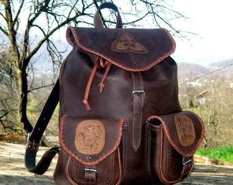 Backpack, Leather Set, Elegant Backpack, School Back, Leather Backpack and Belt, College backpack, Large Leather Backpack, Leather Rucksack