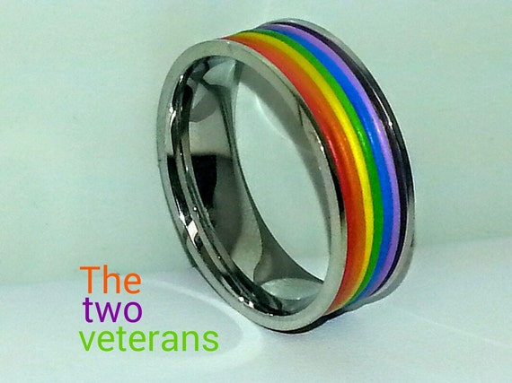 engraved rainbow rubber striped band ring by thetwoveterans