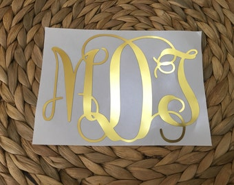 Gold or Silver Foil Monogrammed Decal