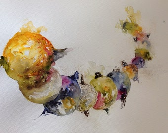 giclee reproduction of original watercolor of planets