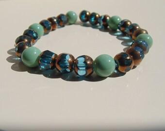 Aqua Blue & Bronze Bracelet