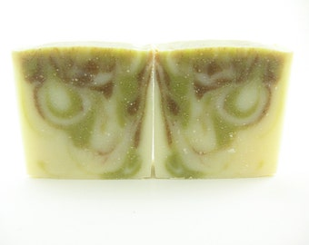 Organic Tranquility Soap, lavender, fir needle, cedarwood essential oils, Natural Soap, Cold Process, spinach powder, hibiscus powder