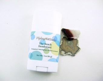 The Beach Deodorant, tea tree essential oil, bergamot, lemongrass, all natural deodorant, aluminum free, deoderant, organic deodorant